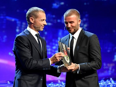 "Beckham ""honoured"" at UEFA President's Award"