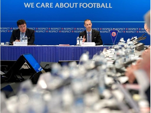 UEFA President Aleksander Čeferin speaks at the UEFA Executive Committee meeting in Helsinki