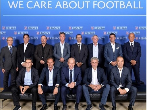 The group photo from the 2017 UEFA Elite Coaches Forum