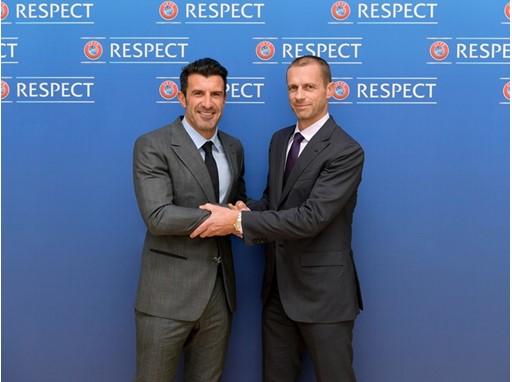 Luis Figo and UEFA president Aleksander Čeferin