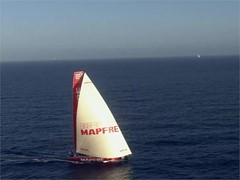 Aerial footage. Leg 1. Leaders hit Gibraltar straight