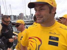 All Blacks Richie McCaw and Dan Carter visited the Volvo Ocean Race in Auckland