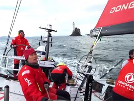 Dongfeng Race team leads fleet around Fastnet Rock