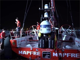 MAPFRE arrives at the dock after winning Prologue race (b-roll)