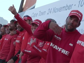 MAPFRE Leg2 winning crew on stage for prize-giving ceremony