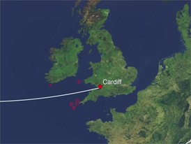 Route and wind animation, Leg 9 preview, Newport to Cardiff, 20 May start