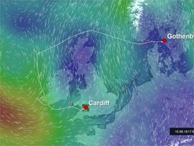 Route animation and wind, Leg 10 preview, Cardiff to Gothenburg, 10 Jun start