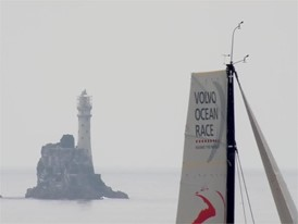 HELI: fleet rounds the Fastnet Rock during Leg 10