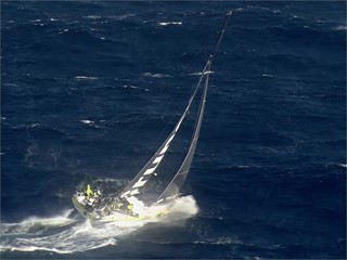 Epic helicopter shots of fleet sailing offshore from Cape Town after Leg 3 start