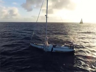 VNR ALERT: Turn the Tide on Plastic sail past 'ghost boat' abandoned months ago following dramatic rescue
