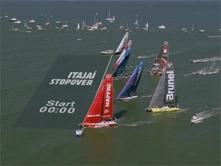 Leg 8 start and interviews - MAPFRE leads the Volvo Ocean Race fleet out of Itajaí to Newport