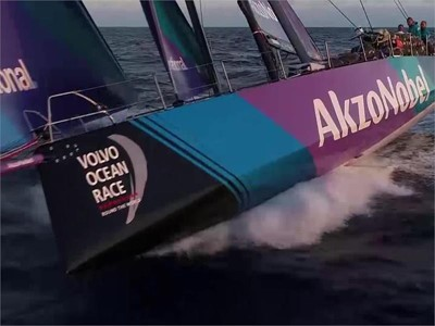 NOV 15_team AkzoNobel and Vestas 11th Hour Racing Drone Action and a pod of Dophins