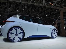 Desginer Showing Volkswagen I.D. Concept Car - Paris 2016