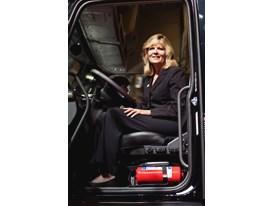 Ellen Voie in a Volvo truck