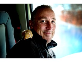 Seon Rogers, the stunt driver with Charlie, the hamster.