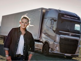 Louise Marriott, Truck Driver in 'The Flying Passenger' Test