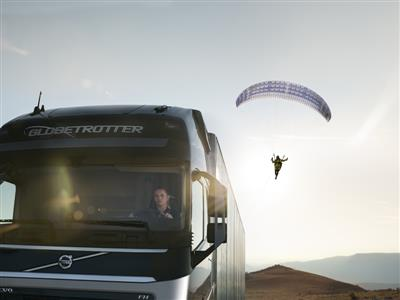 Volvo Trucks spectacular upcoming Live Test 'The Flying Passenger' is the world's first stunt featuring a truck and a paraglider