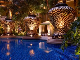 Wynn Macau Pool - Cabana Night by Barbara Kraft