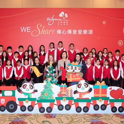 Wynn presents Christmas trees handmade by The International School of Macau (TIS) Crescendo Choir to the Concordia