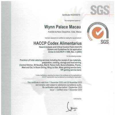 永利榮獲「危害分析與關鍵控制點(HACCP)」國際食品安全管理系統認證