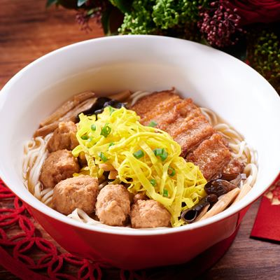 La Mein with Stewed Pork Belly, Pork Meat Ball and Egg