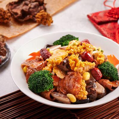Braised Fungus, Eggplants, Matsutake Mushrooms, Bean Curd Skin and Glass Noodles