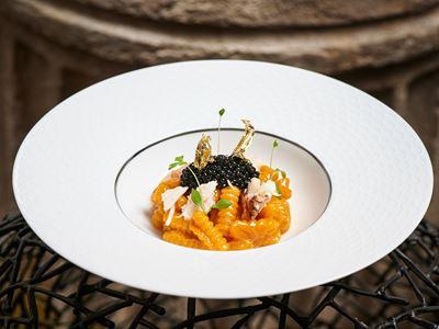 Homemade Cavatelli – Dungeness Crab, Spanner Crab, Oscietra Caviar, Tarragon, Crab Bisque