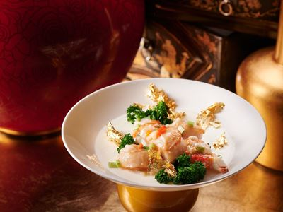 Steamed Egg White with Hokkaido Scallops, Fresh Crab Meat and Roe