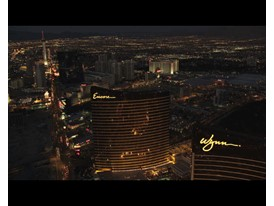 Wynn and Encore Night Aerial BRoll