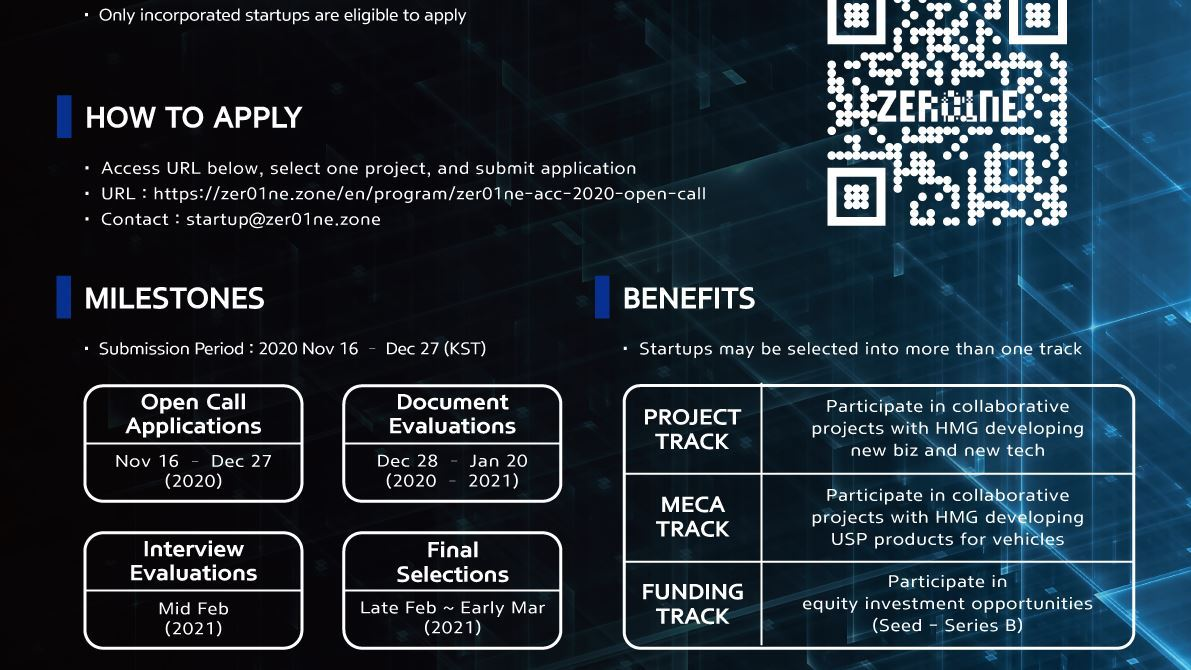 Hyundai Motor Group Announces '2020 ZER01NE Accelerator' Open Call to Collaborate with Startups - Image 1