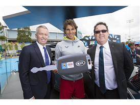 From left_Craig Tiley (TA CEO) Rafael Nadal (Kia Ambassador) & Damien Meredith (KMAu COO)