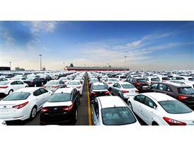 Kia cars await shipment at Pyeongtaek Port