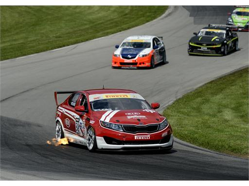 Kia Racing's Mark Wilkins victorious in Round 11 of the Pirelli World Challenge at Mid-Ohio