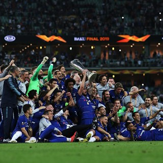 Chelsea players, who won the 2018/2019 UEFA Europa League Championship, elate in their victory following the final match