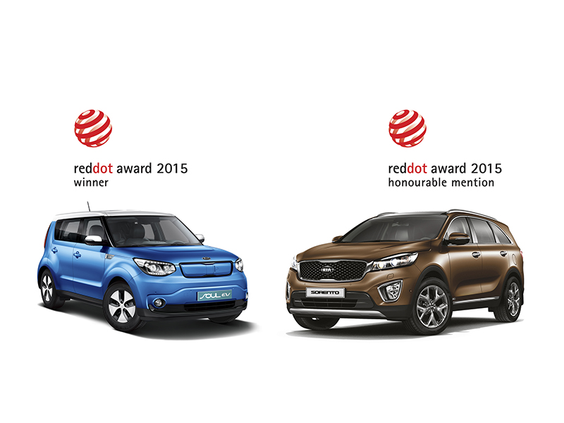 Kia Soul EV and Sorento red dot awards