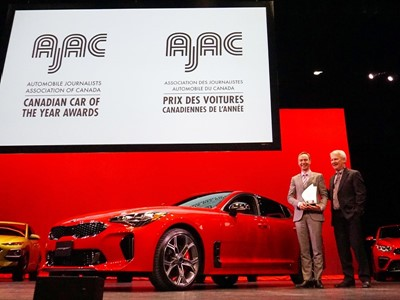 The Kia Stinger is Canada's 2019 Car of the Year, according to the Automobile Journalists Association of Canada (AJAC)