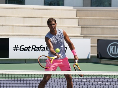 Rafael Nadal take shots during an interactive training session followed by an announcement
