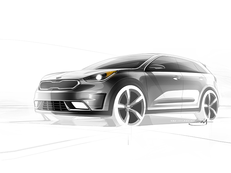 Kia Niro Production Model Rendering (front quarter)