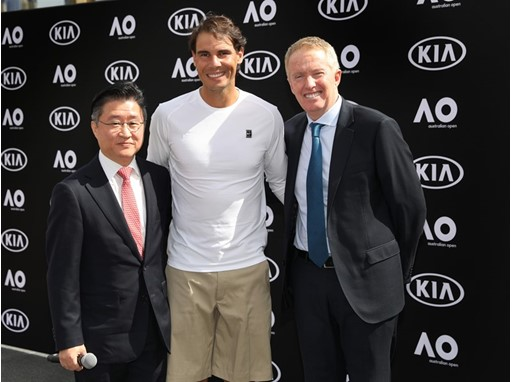 (From Left) James Cho, President of Kia Motors Australia / Rafael Nadal / Craig Tilley, Tournament Director of the Austr