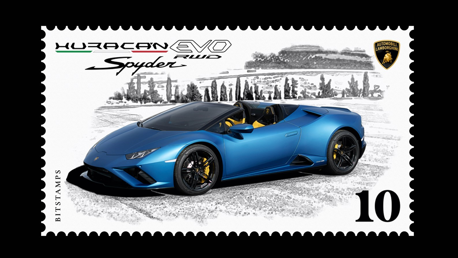 Automobili Lamborghini launches its first collector's digital stamp in collaboration with Bitstamps, dedicated to the Huracán EVO RWD Spyder - Image 4
