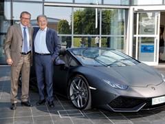 Romano Prodi in visita alla Lamborghini