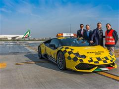 Una Lamborghini Huracán Follow Me per l'Aeroporto di Bologna