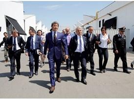Stephan Winkelmann and Minister Corrado Clini with institutional representatives at Automobili Lamborghini