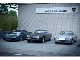 Gallardo LP 560-4 Spyder, 400 GT 2+2 and 350 GT in front of new dealer's entrance in Leusden, NL.