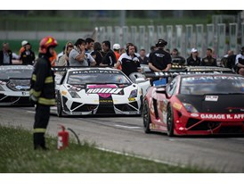 The Lamborghini Blancpain Super Trofeo grid assembles