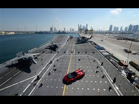 Veneno Roadster on naval aircraft carrier Nave Cavour 1