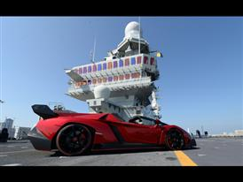 Veneno Roadster on naval aircraft carrier Nave Cavour 2