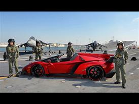 Veneno Roadster on naval aircraft carrier Nave Cavour  4