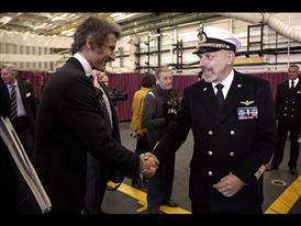 Lamborghini President and CEO Stephan Winkelmann and Chief of Italian Navy Admiral Giuseppe De Giorgi