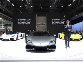 Stephan Winkelmann and Lamborghini Huracán LP 610-4  at the Auto China 2014 in Beijing